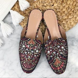 A New Day Pattern Embellished Mules